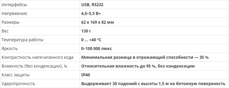 Honeywell 1450GHR сканер штрих кода характеристики